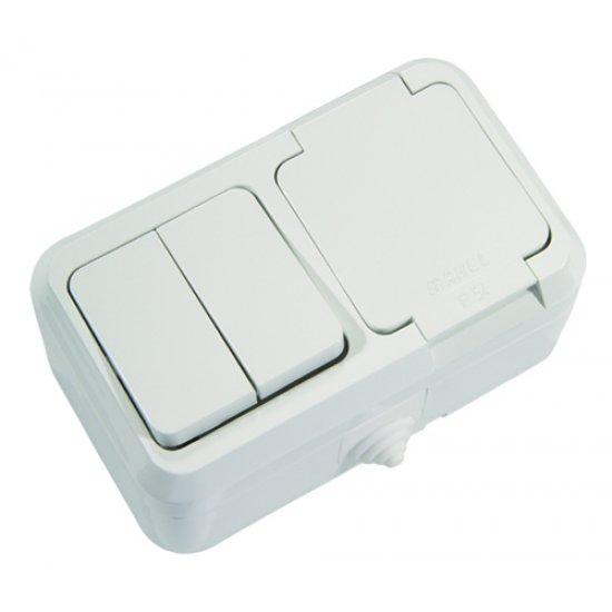Контакт единичен с капак + ключ двоен схема 5 бял