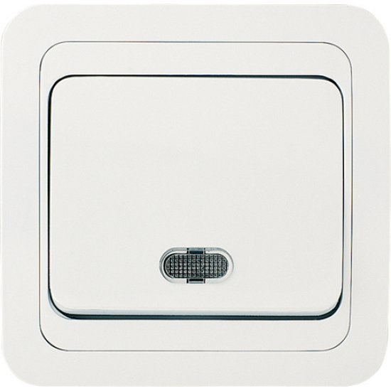 Ключ единичен схема 1 със светлинен индикатор бял