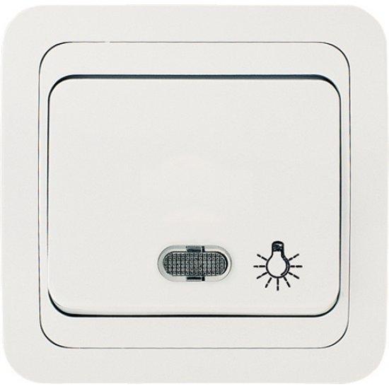 Ключ стълбищен със светлинен индикатор бял