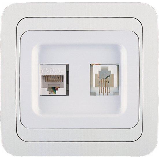 Розетка за компютър + телефон бяла