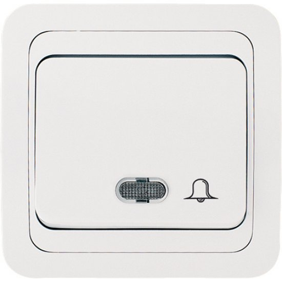 Бутон за звънец със светлинен индикатор бял