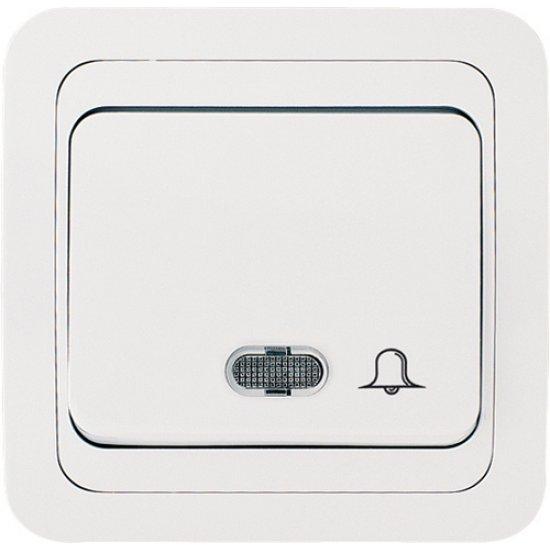 Бутон за звънец със светлинен индикатор 12V бял
