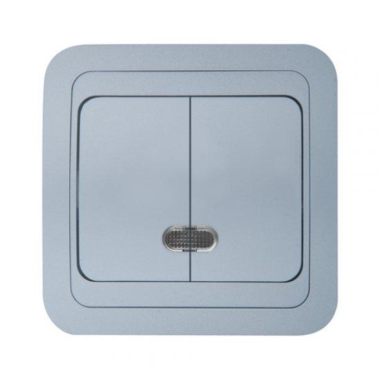 Ключ двоен схема 5 със светлинен индикатор металик