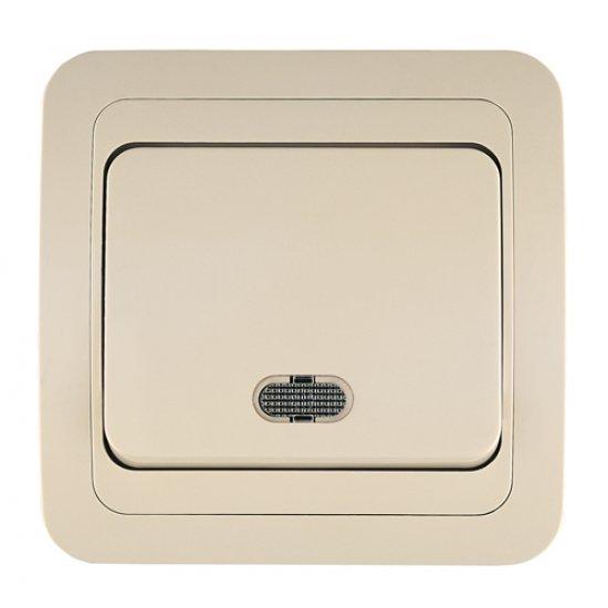 Ключ единичен схема 1 със светлинен индикатор крем
