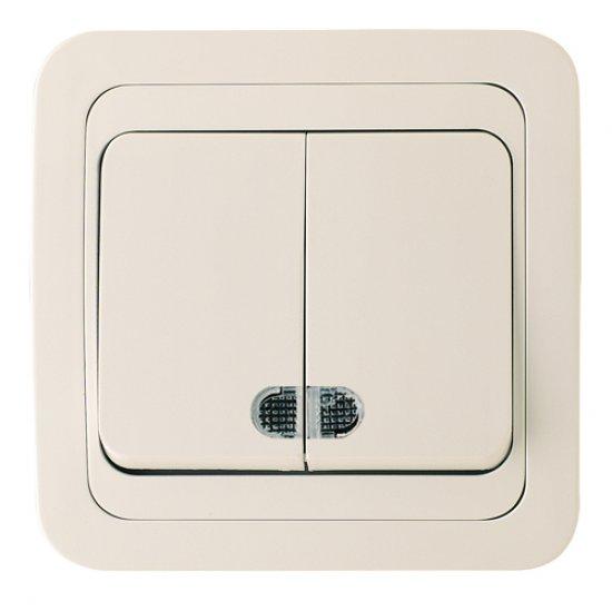 Ключ двоен схема 5 със светлинен индикатор крем