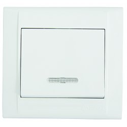 Ключ единичен схeма 1 със светлинен индикатор бял