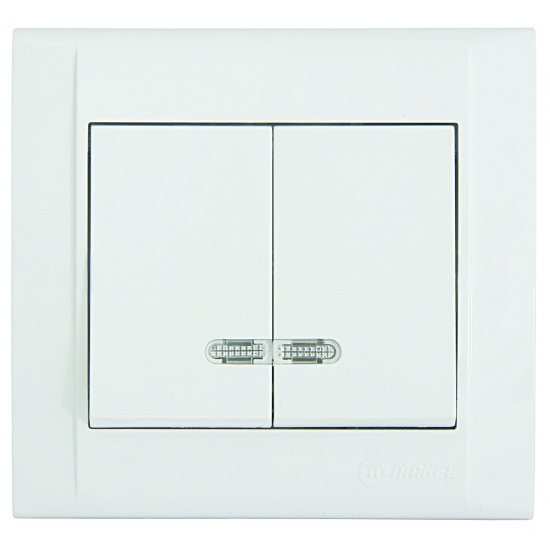 Ключ двоен схема 5 със светлинен индикатор бял