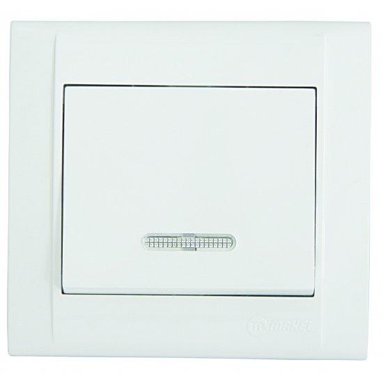 Ключ девиаторен схема 6 със светлинен индикатор бял