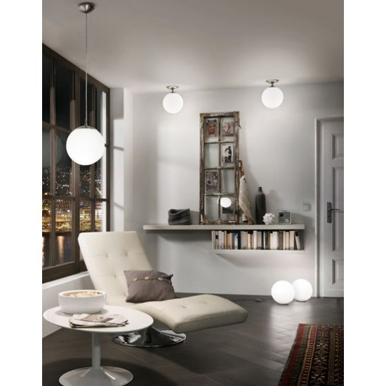 Настолна лампа RONDO E27 max 60W IP20 ф30см мат хром + бял