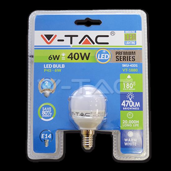 LED Крушка 6W E14 P45 Топло Бяла Светлина Блистер