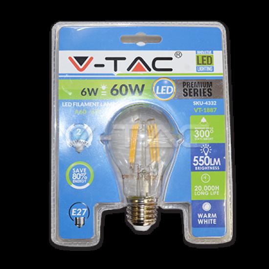 LED Крушка 6W Filament E27 A60 Топло Бяла Светлина Блистер