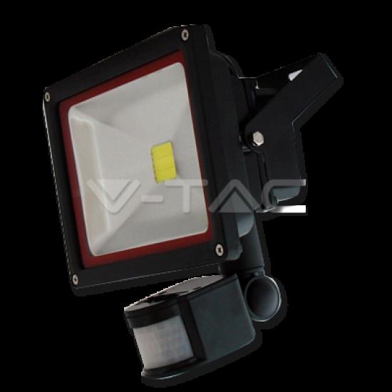 30W LED Прожектор V-TAC Сензор - Топло Бяла Светлина