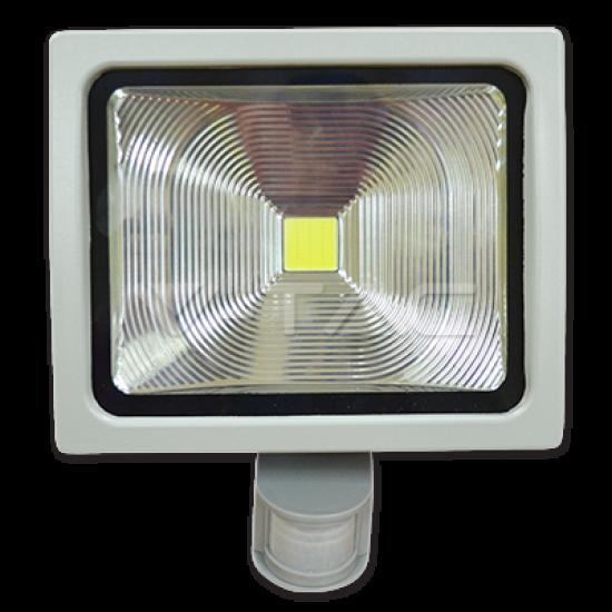 30W LED Прожектор V-TAC Сензор PREMIUM - Топло Бяла Светлина
