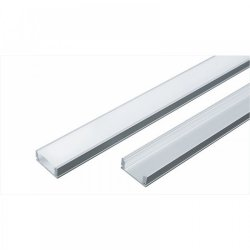 Алуминиев профил за LED лента 13.2x7мм 2м с матиран разсейвател, капачки и държачи
