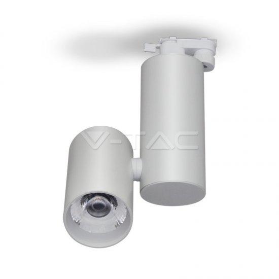 30W LED Прожектор Релсов Монтаж Бяло Тяло 6400K