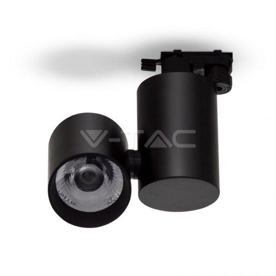 15W LED Прожектор Релсов Монтаж Черно Тяло 6400K