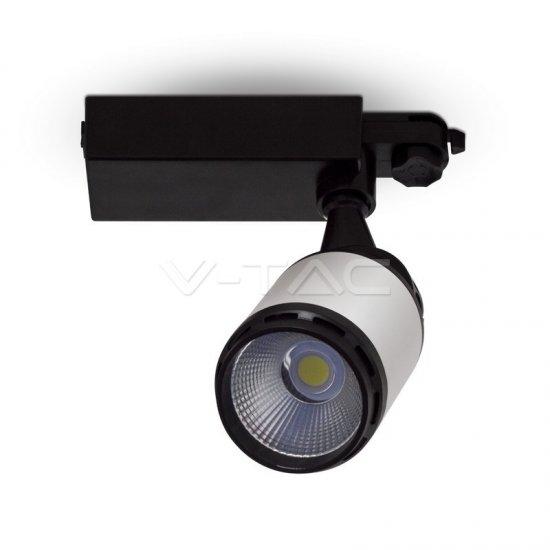 25W LED Прожектор Релсов Монтаж Черно/Бяло Тяло 3000K