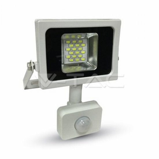 10W LED Прожектор Със Сензор SMD Бяло Тяло 3000K