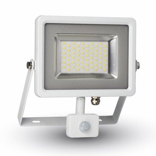 50W LED Прожектор Със Сензор SMD Бяло Тяло 4500K