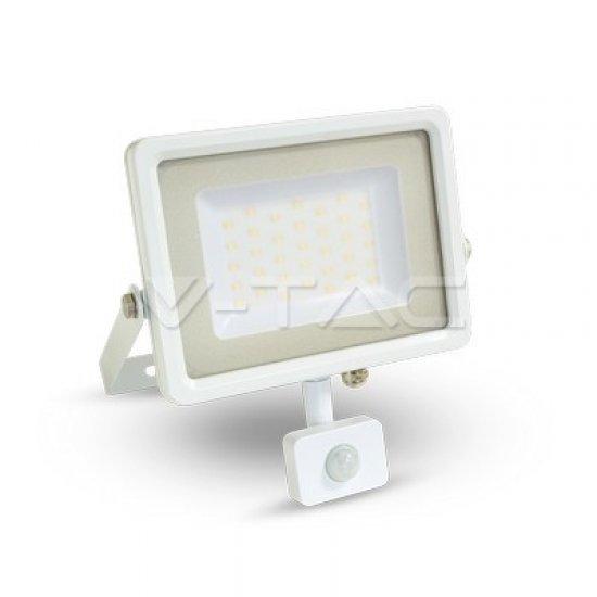 50W LED Прожектор Със Сензор SMD Бяло Тяло 3000K