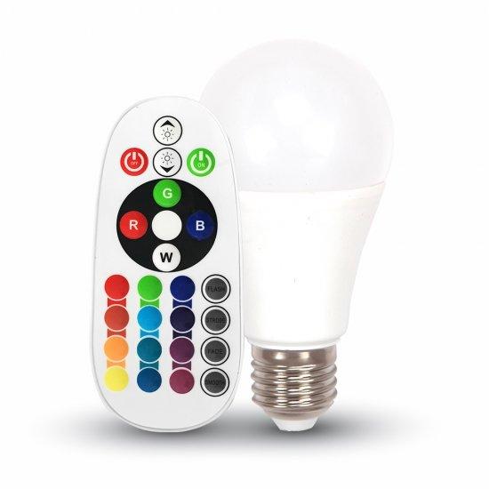 LED Крушка 6W E27 A60 RGB С Дистанционно Термо Пластик 6400K