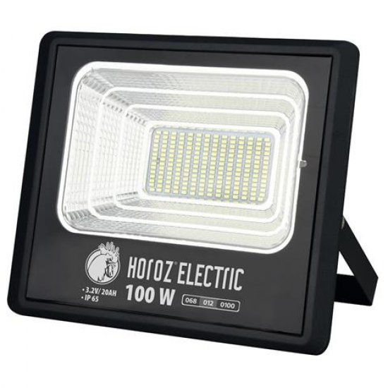 LED соларен прожектор 100W 6400K IP65 черен