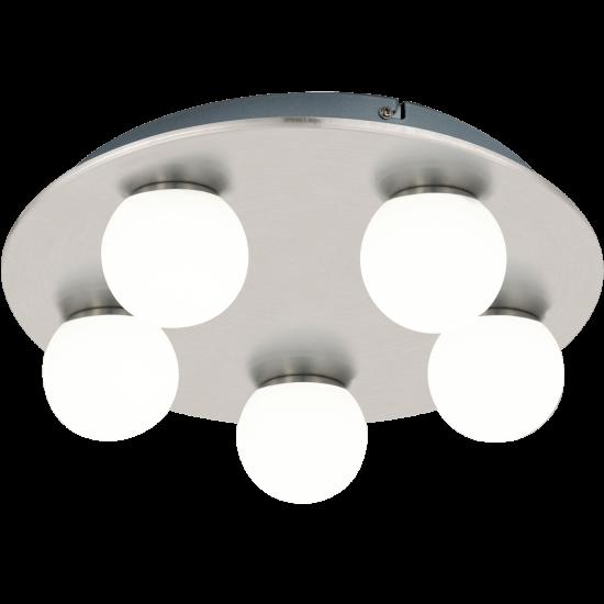 LED плафон за баня MOSIANO 5х3.3W 3000К 5х340Lm IP44 мат хром кръг