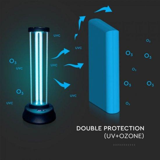 Бактерицидна антивирусна лампа UV-C с озон 38W VT-3338 със сензор и дистанционно управление