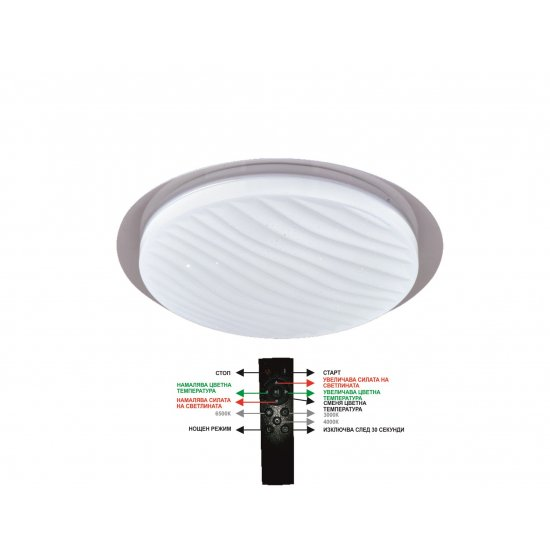 LED Плафон с дистанционно 36W 2700Lм  3000-6500K