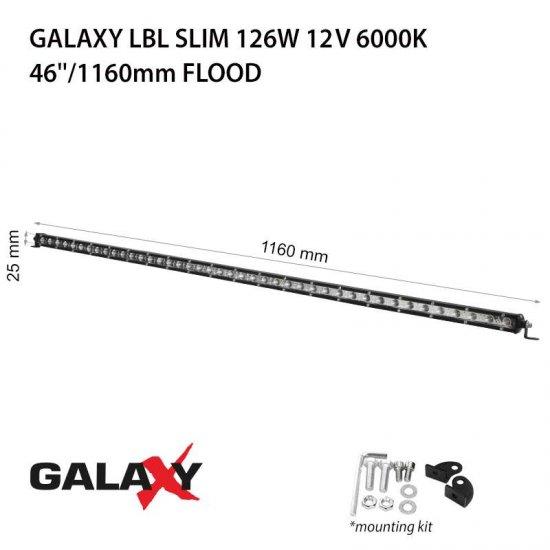 LED Offroad осветител Galaxy BAR LBL Slim 126W 6000K 9450Lm IP67 12-24V flood