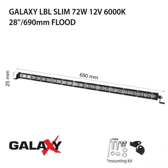 LED Offroad осветител Galaxy BAR LBL Slim 72W 6000K 5400Lm IP67 12-24V flood