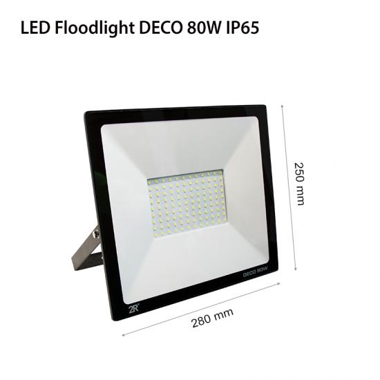 LED Прожектор Deco 80W 6000K 8000Lm IP65 черен