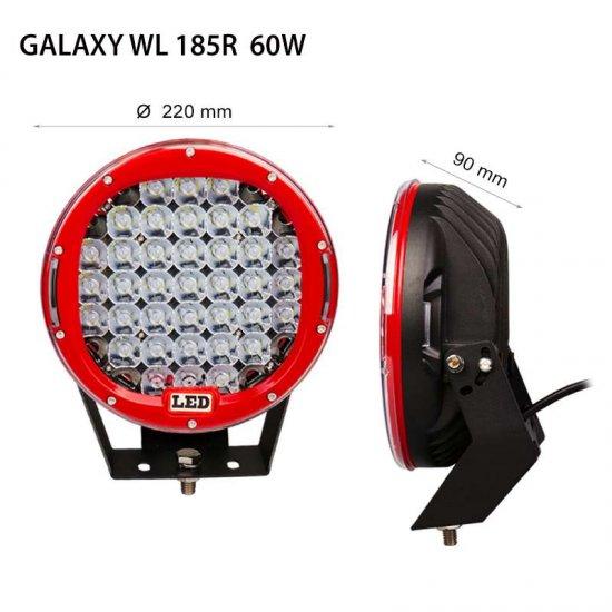 "LED Offroad осветител Galaxy  WL 185R 9"" 60W 6000K 4500Lm IP67 12-24V spot"