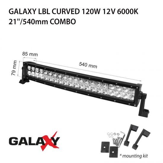 LED Offroad осветител Galaxy BAR Curved 120W 6000K 9000Lm IP67 12-24V combo