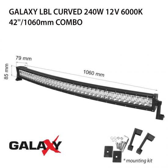 LED Offroad осветител Galaxy BAR Curved 240W 6000K 18000Lm IP67 12-24V combo