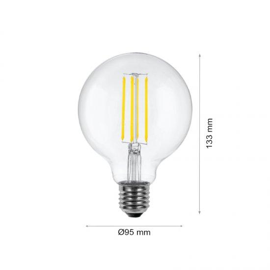 LED крушка Filament G95 E27 4W 2700K 470Lm димируема