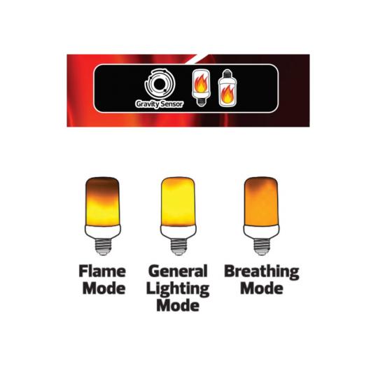 """LED крушка ефект """"пламък"""" 5W E27 117Lm 1500K 100-250V 3 режима"""