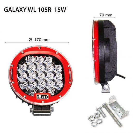 "LED Offroad осветител Galaxy  WL 105R 7"" 15W 6000K 1120Lm IP67 12-24V spot"
