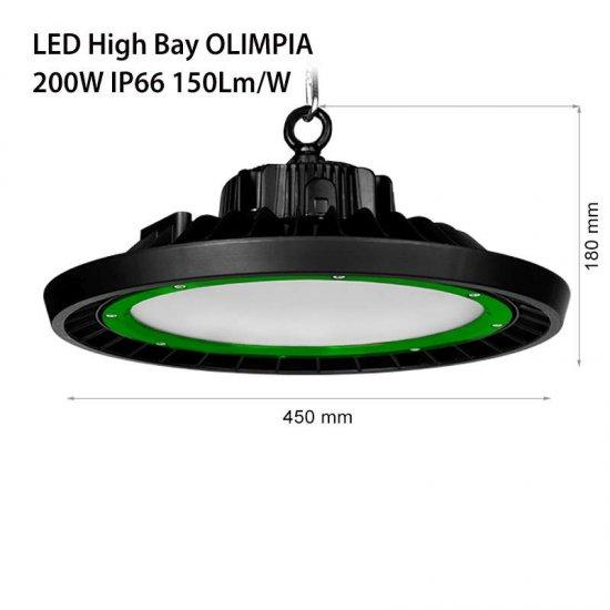 LED промишлен осветител тип камбана Olimpia 200W 5000K 28000Lm IP66 димируем