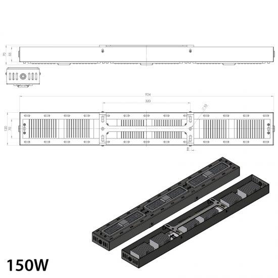 LED промишлен осветител Linear 150W 5000K 18000Lm IP65