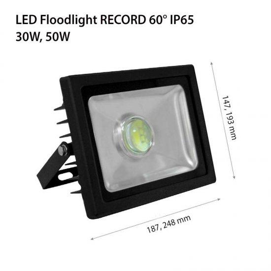 LED прожектор насочен 60° RECORD 30W 6000K 3000Lm IP65 черен