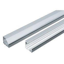 Алуминиев профил за LED лента за открит ъглов 18мм 2м с матиран разсейвател