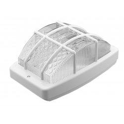 Плафон влагозащитен с решетка BR-00220-001 Kral E27 max 26W ESL IP44 26см бял