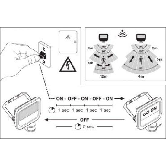 LED прожектор със сензор LEDVANCE GEN 3 50W 3000K 5500Lm IP65 черен 110Lm/W