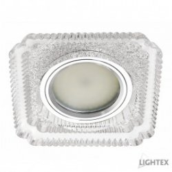 Декоративна луна стационарна MR16 ф120мм квадратна 90х90мм стъкло прозрачно с LED лента 3W 4000K