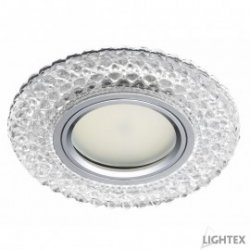 Декоративна луна стационарна MR16 ф100мм кръгла стъкло прозрачно с LED лента 3W 4000K
