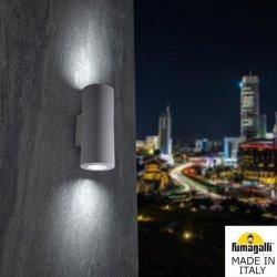 Фасаден осветител FRANCA 90 2L 2xGU10 2x3.5W 4000K IP55 сив Fumagalli