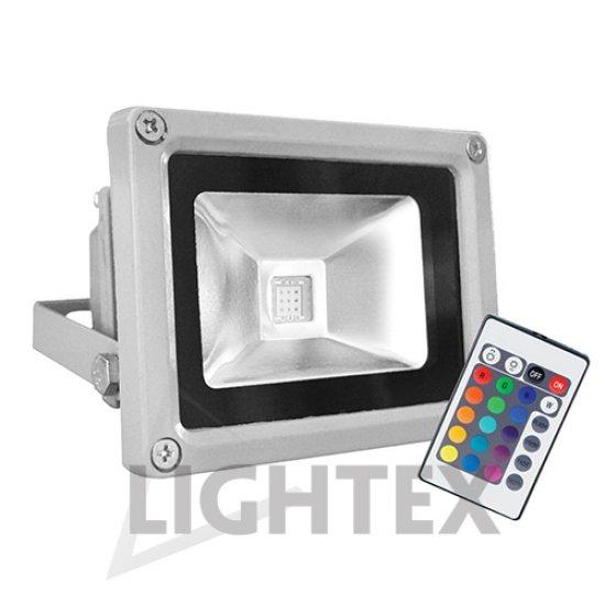 LED прожектор SLIM 10W RGB 500Lm IP65 с дистанционно управление сребрист