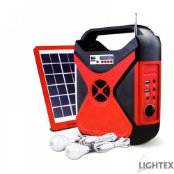 LED соларен фенер преносим с радио 2 лампи х 3W USB port SD карта и с изходи USB + 5V