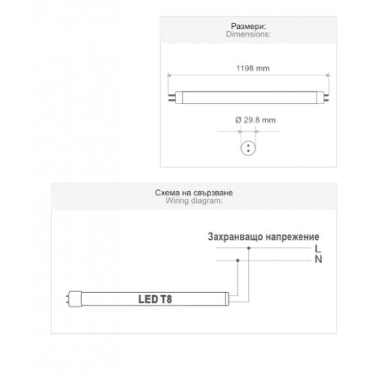 LED пура PRO Т8 18W 6500K 2160Lm 120см едностранно захранване 120Lm/W